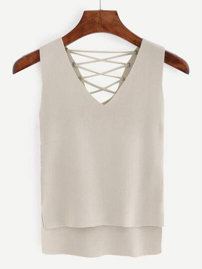 Eyelet Lace-Up Knitted High-Low Tank Top - Apricot