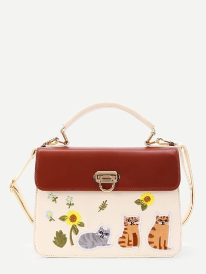 Sunflower And Cat Embroidery PU Grap Bag