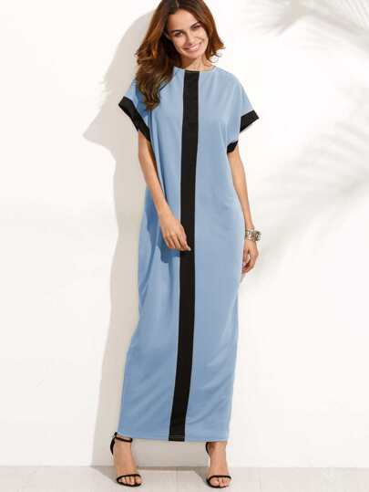 Contrast Panel Cocoon Dress With Hidden Pocket