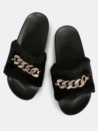 Furry Fur Link Slides BLACK