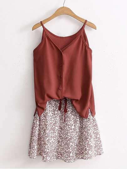 Cami Top With Drawstring Waist Skirt