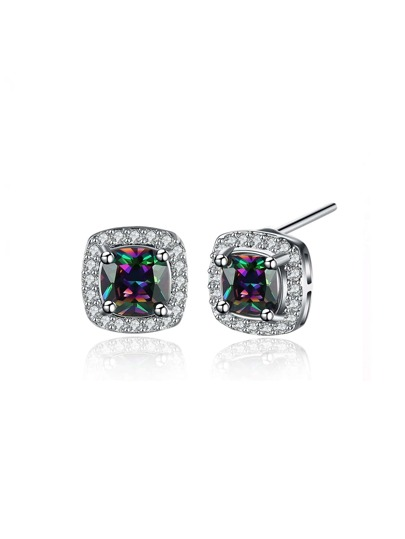 Faux Diamond Embellished Stud Earrings