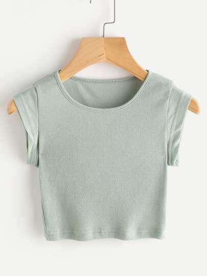 Camiseta corta de canalé