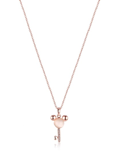 Rhinestone Cute Key Design Pendant Necklace