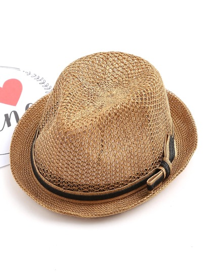 Bow Band Straw Fedora Hat