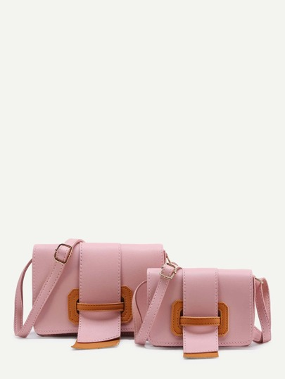 PU Flap Combination Bag With Adjustable Strap