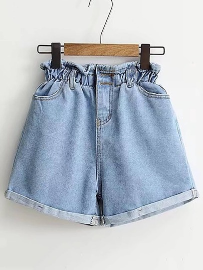 Shorts élastique en denim