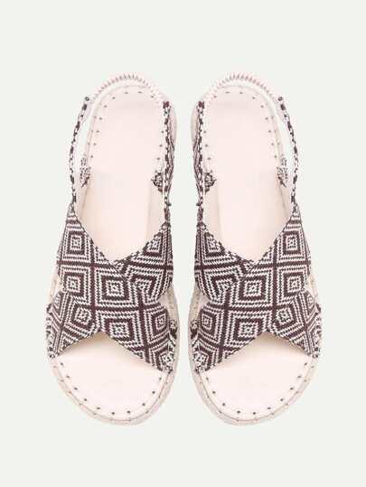 Geometric Print Woven Flat Sandals