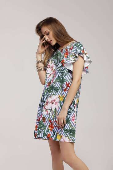 Jungle Print Striped Butterfly Sleeve Dress