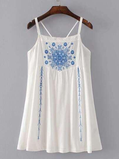 Contrast Lace Criss Cross Back Cami Dress