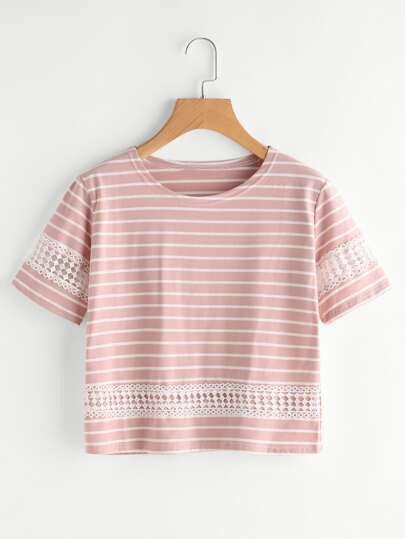 Striped Hollow Out Lace Panel Tee