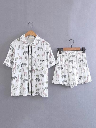 Haut de poche imprimé pour animaux avec pantalons élastiques