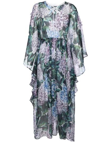Tie Neck Split Sleeve Ruffle Print Dress