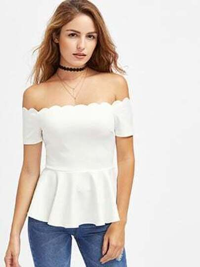 Scalloped Bardot Neck Peplum Top