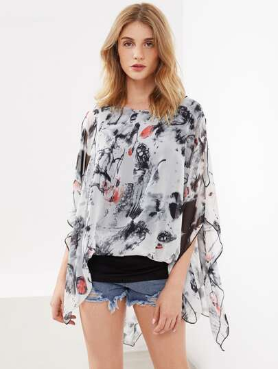 Ink Painting Print Open Shoulder Kaftan Top