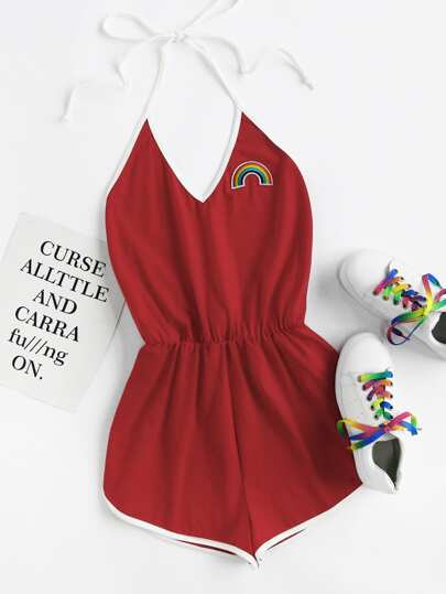 Rainbow Patch Contrast Binding Halter Romper