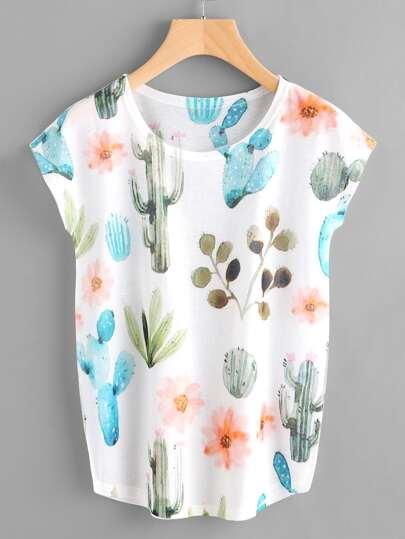 T-shirt mit Fledermauärmeln und Kaktusmuster
