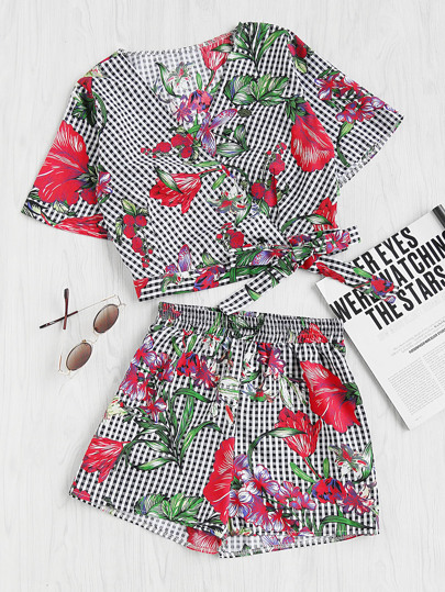 Mixed Print Surplice Wrap Crop Top And Shorts Set