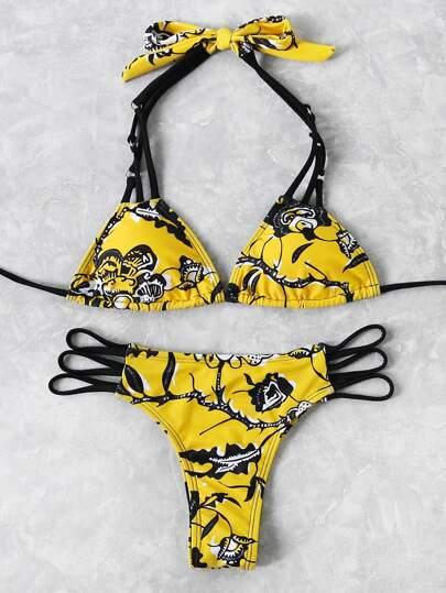 Abstract Flower Print Self Tie Strappy Bikini Set
