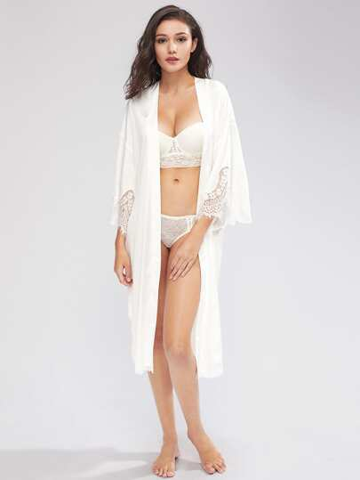 Drop Shoulder Lace Detail Longline Kimono Robe