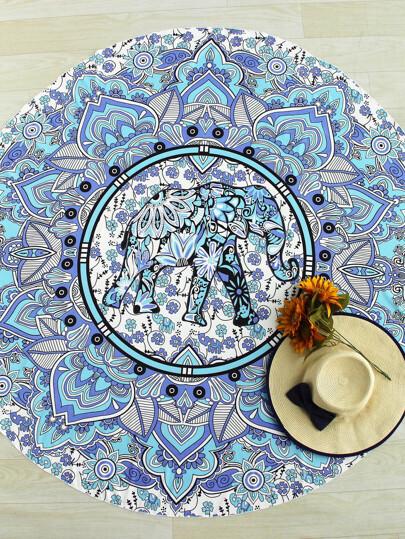 Telo mare rotondo stile boho con stampa di elefante e fiore