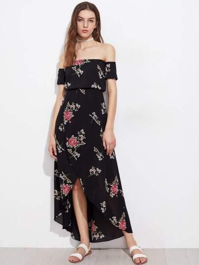 Random Florals Bardot Tulip Hem Chiffon Dress