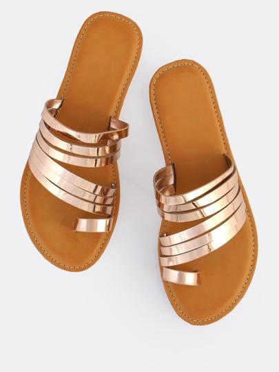 Multi Strap Metallic Toe Ring Sandals ROSE GOLD