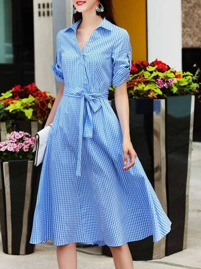 V Neck Plaid Tie-Waist Dress