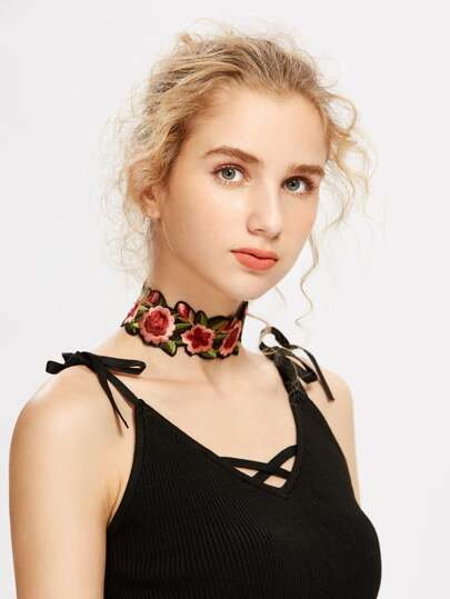 Flower Embroidery Choker Necklace