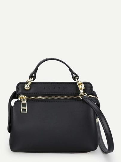 Zipper Design PU Shoulder Bag With Handle