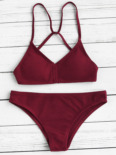 Push Up Strappy Back Bikini Set
