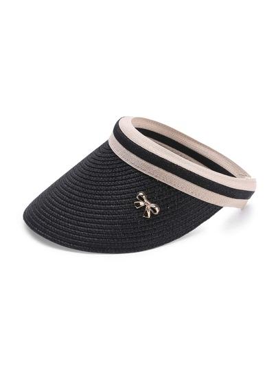 Sombrero con visera de paja con adorno de lazo