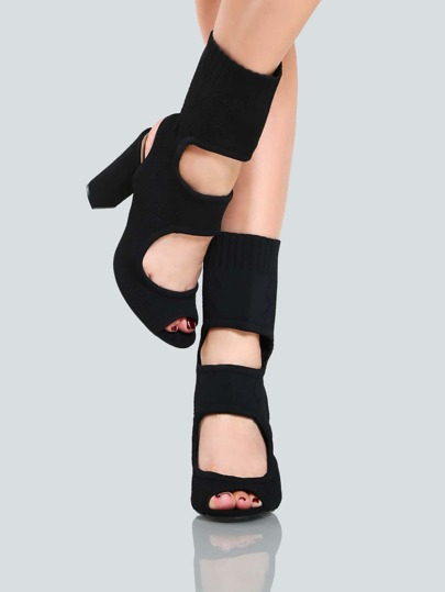 Knit Cut Out Booties BLACK