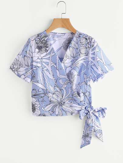 Tropical Print Stripe Tie Detail Top