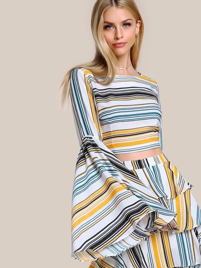 Trumpet Sleeve Striped Crop Top MULTI