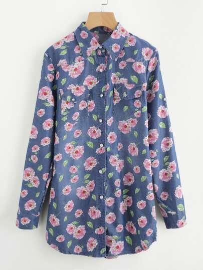 Allover Florals Chambray Shirt Dress