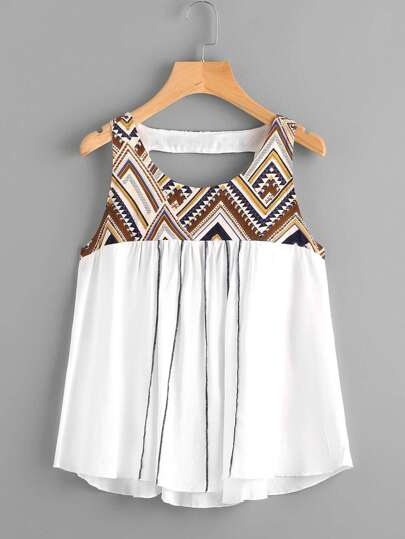 Tribal Print Yoke Cutout Back Smock Tank Top