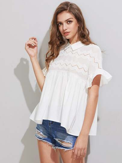 Eyelet Embroidered Yoke Frill Sleeve Tie Back Smock Top