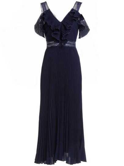 V Neck Backless Ruffle Pleated Dress