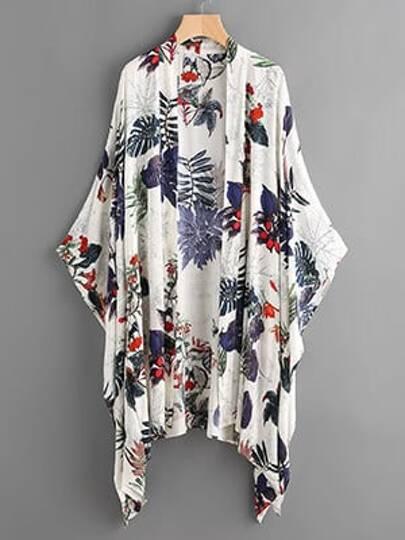 Tropical Print Poncho Kimono