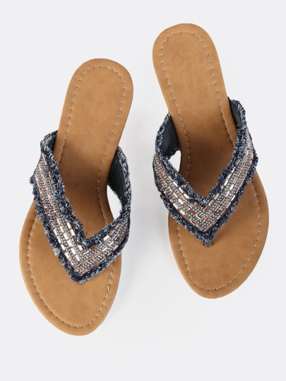 Bejeweled Denim Sandals DARK DENIM