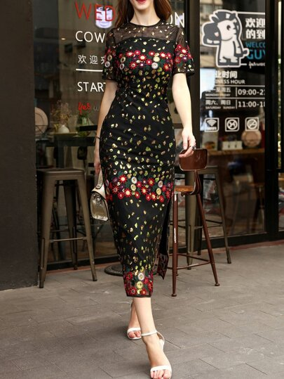 Flowers Embroidered Sequined Sheer Split Dress