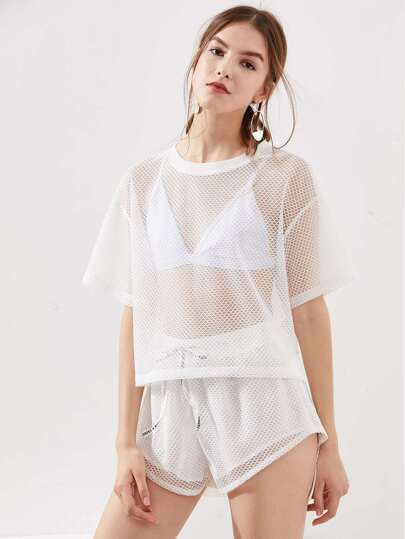 Drop Shoulder Fishnet Tee And Shorts Co-Ord