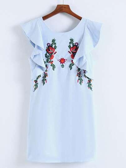 Kleid mit Blumen Stickereien und Raffung