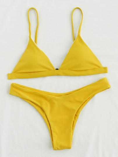 Triangle High Leg Bikini Set