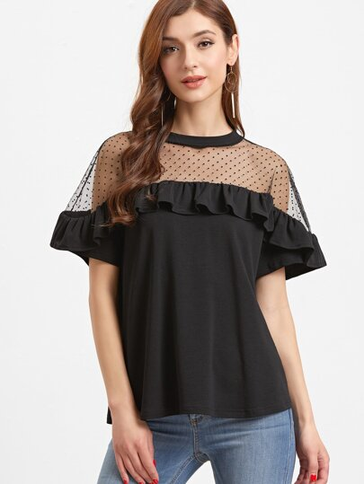 Dotted Mesh Shoulder Frill T-shirt