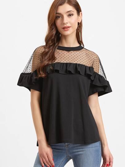 Camiseta con hombro de malla a lunares y volantes - negro