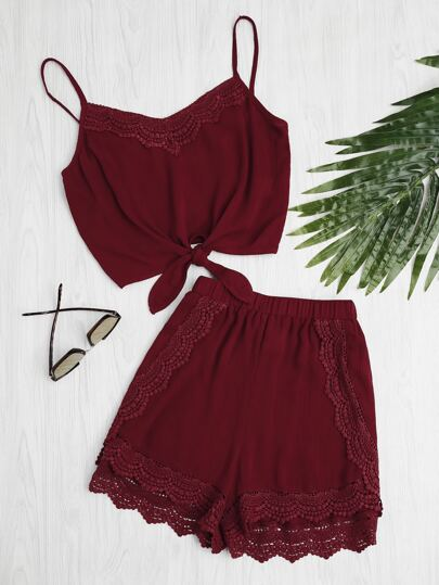 Knot Front Crochet Detail Cami Top With Shorts Pajama Set