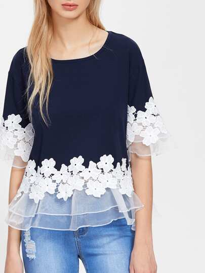 Lace Applique Layered Mesh Trim Tee