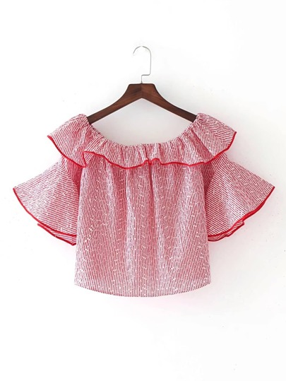 Boat Neckline Bell Sleeve Embroidery Top